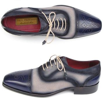 Paul Parkman (FREE Shipping) Men's Captoe Oxfords - Navy / Beige Hand-Painted Suede Upper and Leather Sole (ID#024-BLS)