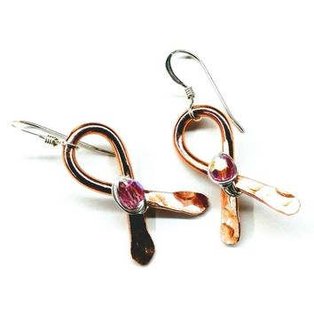 Breast Cancer Awareness Copper Ribbon Crystal Earrings