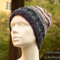 Warm slouchy hat - handknit slouchy beanie in blue, purple with white stripes