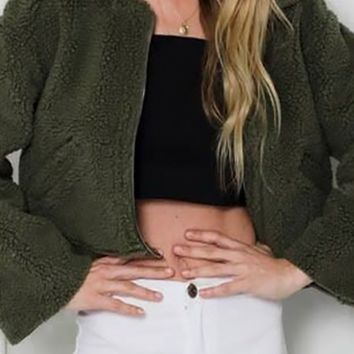 Cover Up Teddy Faux Fur Long Sleeve Front Zip Crop Coat Outerwear - 2 Colors Available