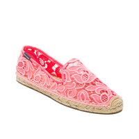 Soludos Tulip Lace Espadrille in Neon Pink