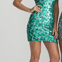 Aqua Sequin Sweetheart Short Fitted Homecoming Dress - Unique Vintage - Cocktail, Pinup, Holiday & Prom Dresses.