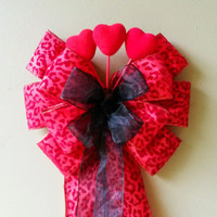 Leopard Print Valentine Bow, Valentines Day Bow, Valentines Wreath Bow,  Heart Bow,  Door Mailbox Tree Topper Decoration