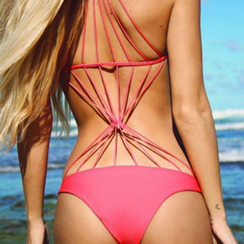 Pink Strappy Diamond Back Swimsuit