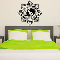 Mandala Wall Decal Ethnic Yoga Studio Stickers Yin Yang Vinyl Decals Sun Flower Art Mural Home Interior Design Bedroom Bohemian Decor KI6