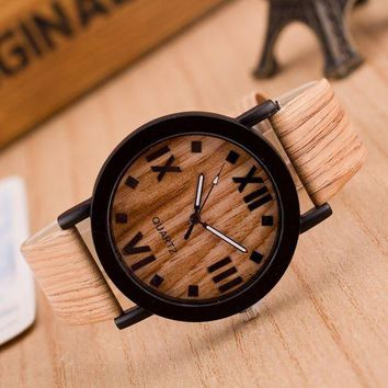 ac NOOW2 relojes mujer 2016 Roman Numerals Wood PU Leather Band Analog Quartz Vogue Wrist Watches womens watch montre femme #
