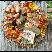 Fall Deco Mesh Wreath, Autum Wreath, Burlap Wreath, Scarecrow Wreath, Fall Wreath, Deco Mesh Wreath, Thanksgiving Wreath, Fall Door Hanger