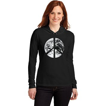 Buy Cool Shirts Ladies Peace T-shirt Earth Satellite Symbol Hooded Shirt