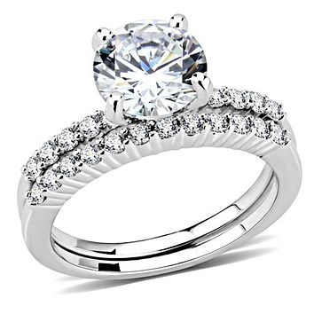 A Perfect 2CT Round Cut Russian Lab Diamond Solitaire Engagement Wedding Band Bridal Set Ring