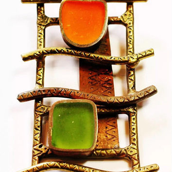 Large Bronze Mid Century Brutalist Modernist Orange & Green Pendant
