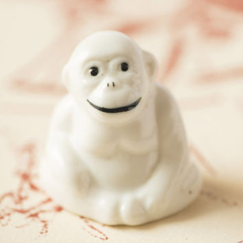 Vintage white monkey figurine - white porcelain monkey - home decor dorm decor happy monkey