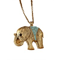 Vintage Crystal Elephant Necklace