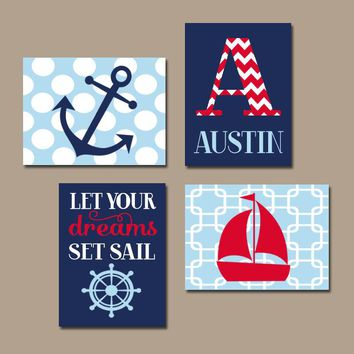 Nautical Wall Art, CANVAS or Prints, Coastal Nursery Decor, Boy Monogram, Sailboat Anchor, Ocean Theme, Dreams Set Sail, Set of 4 Baby