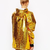 The Ragged Priest Hooded Festival Rain Metallic Jacket