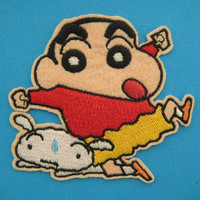 Iron-on Embroidered Patch Crayon Shin-chan with Shiro 3.25 inch