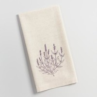 Embroidered Lavender Kitchen Towel