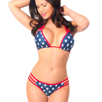Patriotic Stars Pucker Back Strappy Bikini