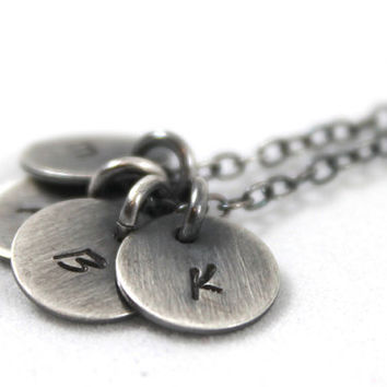 Personalized necklace, Custom initial jewelry, Initial necklace, Oxidized sterling silver jewelry, 4 initial charms