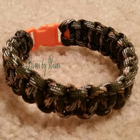 Olive Green Camouflage Paracord Survival Bracelet Orange Plastic Buckle Camping Hiking Boating Hunting Cobra Weave