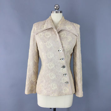 Vintage 1940s Jacket  / 40s Linen Blazer / Soutache Embroidery Mother of Pearl Buttons / Size Extra Small XS