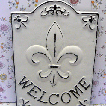 Fleur de lis Ornate Welcome Decorative Cast Iron Rectangular Plaque Classic White Distressed Wall Decor FDL French Paris Shabby Chic