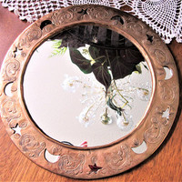 Mirror Copper Hammered Ornate Frame Round Home Wall Decor India blm
