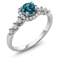 London Blue and white Topaz Ring