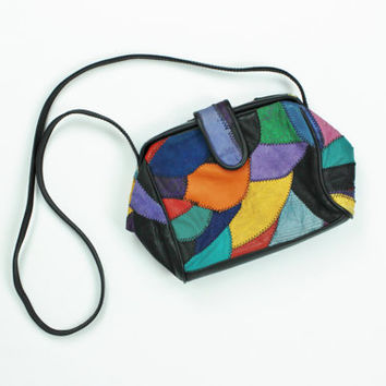 leather patchwork purse doctor bag wide mouth purse colorful bag suede leather purse boho purse