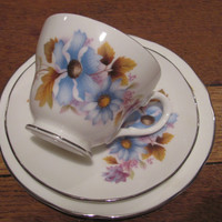 Vintage Blue Flowers Tea Trio, Royal Staffordshire Bone China