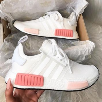 """shosouvenir : """"Adidas"""" NMD Fashion Sneakers Trending Running Sports Shoes Whtie-pink"""