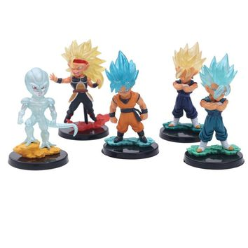 5 Pcs/Set Anime Dragon Ball Z Cute Big Head Son Goku Blue Gold Super Saiya 4 Frieza Gogeta Action Figure DBZ PVC Model Toy 10cm