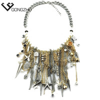 Punk Style Rivet Star Skull Tassel necklaces & pendants Fringe Women Statement Layered Necklaces Personalized Necklace