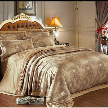 6pc. Luxury Dark Tan Gold Jacquard King or Queen Tribute Silk Duvet Cover Set