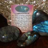 GENUINE LABRADORITE - Genuine Tumbled Labradorite Palm Stones; 2-3 Inch Gemstones - Destiny Stone, Find Your Path, Intuition, Protection