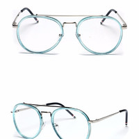 Clear Aviator Glasses - Blue