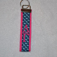 Whales (Sorority OFFICIAL LICENSED PRODUCTS) Monogrammed/Embroidery Key Fob Keychain Cotton Webbing Wristlet