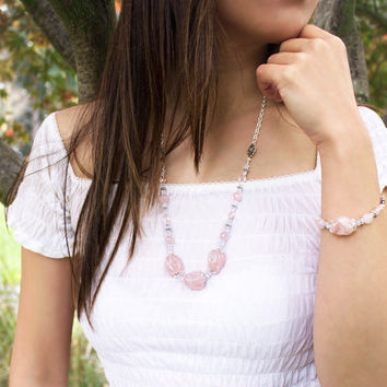 Quan Yin Necklace- with Morganite, Rose Quartz and Moonstone/ Goddess Inspired Jewelry/ Healing Gemstone Necklace, for Love and Compassion