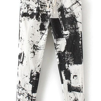 Black Drawstring Waist Abstract Print Pant
