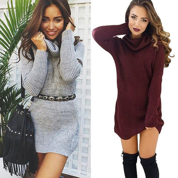 Woolen Sexy High Necked Long Sleeve Mini Dress