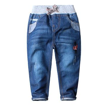 2017 Spring Autumn New Kids Boys Jeans 2-13 Years Age Baby Boy Denim Casual Pants Long Length Straight Jeans Teenage Clothing