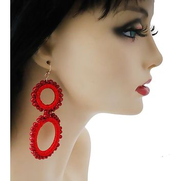 Red Bead and Thread Double Circle Earrings