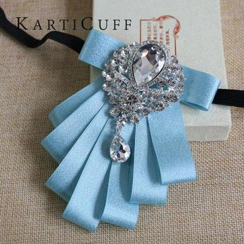 CREYONFI High Quality Sky Blue Bow Tie Gem Jewelry Luxury Series Han Edition British Style Men Women Suit Shirt Dress Jewelry