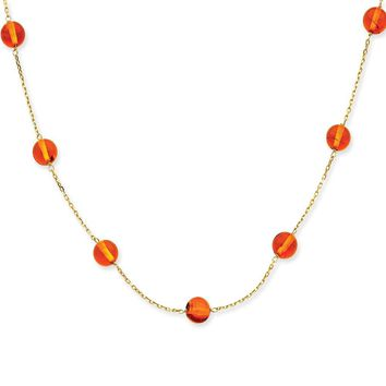 14k Gold Amber Bead Necklace