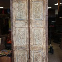Handcarved Indian Antique Natural Wardrobe Almirah Farmhouse Design Wood Cabinet