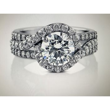 A Flawless 2CT Round Radiant Cut Halo Russian Lab Diamond Engagement Ring