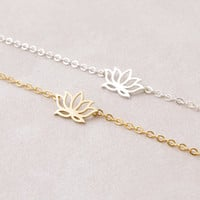 "Lotus Flower ""Zen"" Bracelet in Silver or Gold"