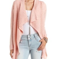 Open Knit Cascade Cardigan Sweater by Charlotte Russe - Peach