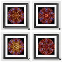 Autumn leaves and sky mandala prints, bronze, gold, blue, brown, kaleidoscope from photo of ash, birch leaves, sky, fine art giclee print