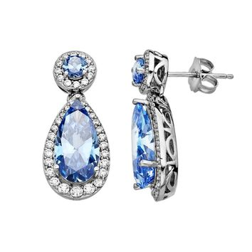 Emotions Sterling Silver Frame Drop Earrings - Made with Swarovski Cubic Zirconia (Blue)