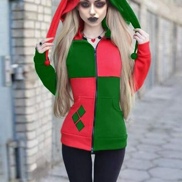 New Red-Green Patchwork Pockets Harley Quinn Cosplay Cardigan Casual Hooded Sweatshirt